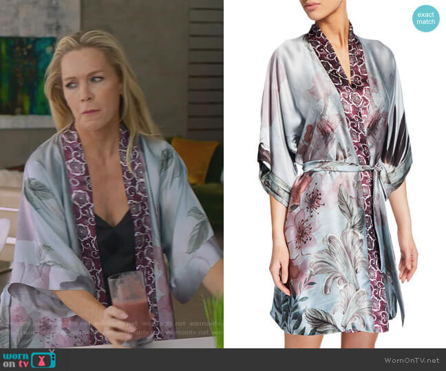 Solitude Floral-Print Silk Short Robe by Christine Lingerie worn by Jennie Garth  on BH90210