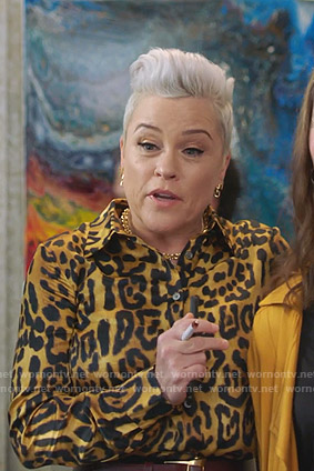 Christine's yellow leopard print blouse on BH90210