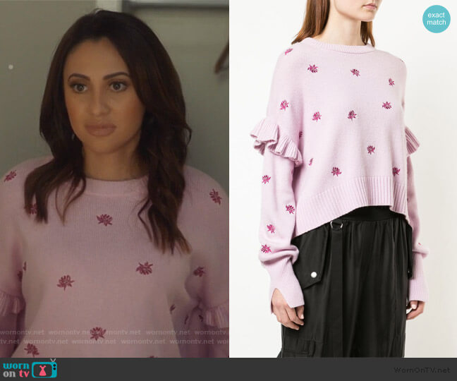 Lorelei floral embroidered jumper by Cinq a Sept worn by Ana Torres (Francia Raisa) on Grown-ish