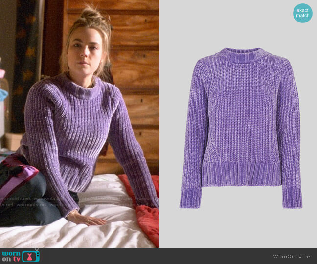 Whistles Cropped Chenille Sweater worn by Ainsley Howard (Rebecca Rittenhouse) on Four Weddings & a Funeral