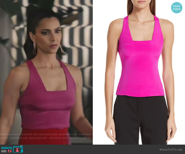 Square Neck Silk Tank Top by Cushnie et Ochs worn by Gigi Mendoza (Roselyn Sánchez) on Grand Hotel