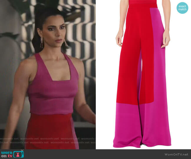 Octavia Color Block Silk Crepe Pant by Cushnie et Ochs worn by Gigi Mendoza (Roselyn Sánchez) on Grand Hotel