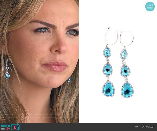 Swiss Blue Topaz & Diamond Drop Earring by Dilamani worn by Hannah Brown  on The Bachelorette