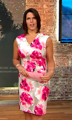 Dana's floral v-neck sheath dress on CBS This Morning