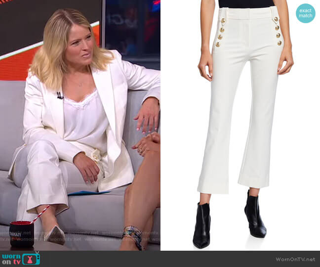Robertson Cropped Flare Trousers with Sailor Buttons by Derek Lam 10 Crosby worn by Sara Haines  on Good Morning America