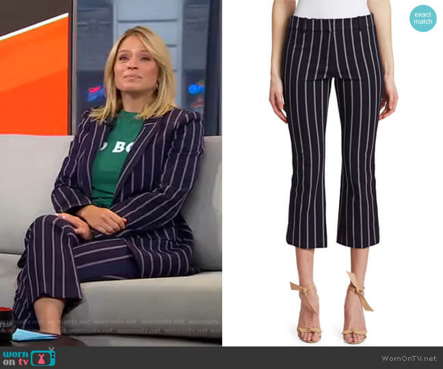 Striped Crop Flare Pants by Derek Lam 10 Crosby worn by Sara Haines  on Good Morning America