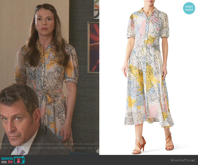 Map Button-Down Midi Dress by Derek Lam 10 Crosby worn by Liza Miller (Sutton Foster) on Younger