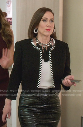 Diana's black whipstiched jacket and skirt on Younger