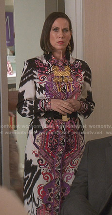 Diana's ikat printed shirtdress on Younger
