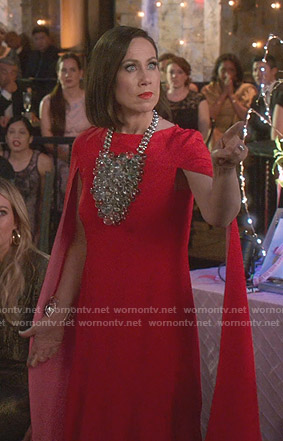 Diana's red cape sleeve dress on Younger