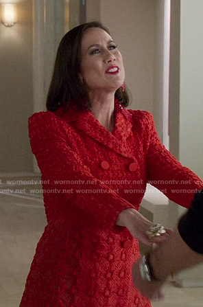 Diana's red embroidered blazer on Younger