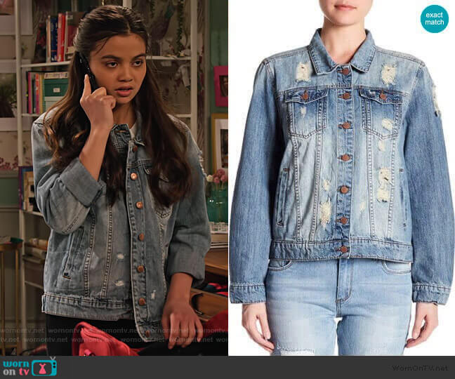 Distressed Denim Jacket by STS Blue worn by Nick (Siena Agudong) on No Good Nick