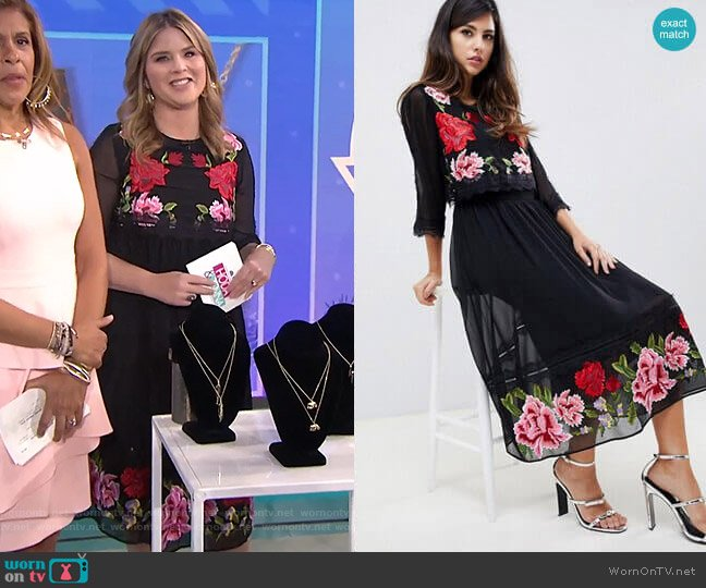 Double Layer Midi Embroidered Dress with Long Sleeves by Asos worn by Jenna Bush Hager  on Today