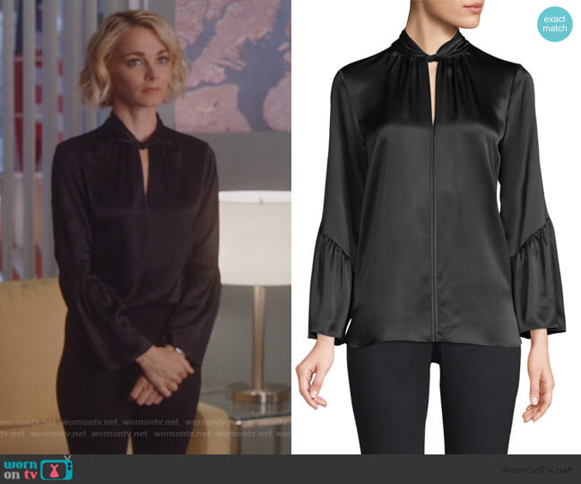 Laraib Twist Neckline Silk Blouse by Elie Tahari worn by Lizzie Needham (Bojana Novakovic) on Instinct