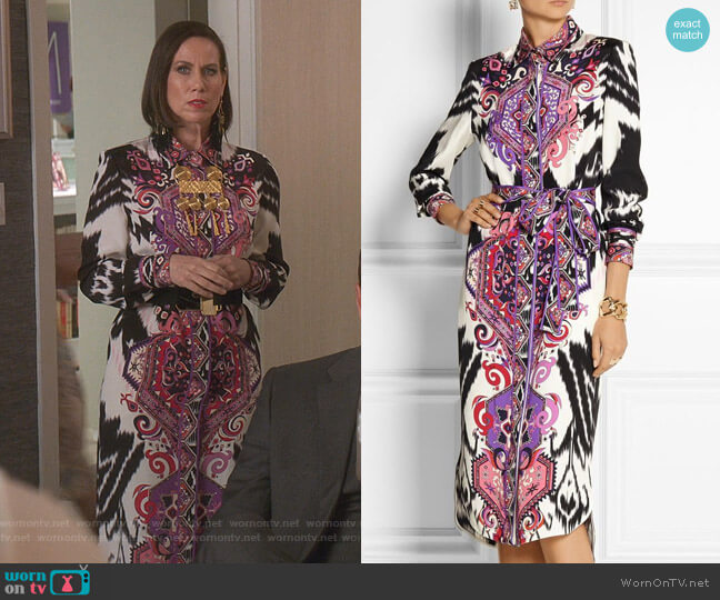 Printed Midi Dress by Emilio Pucci worn by Diana Trout (Miriam Shor) on Younger