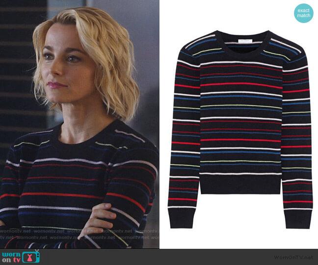 Shirley Stripe Cashmere Sweater by Equipment worn by Lizzie Needham (Bojana Novakovic) on Instinct