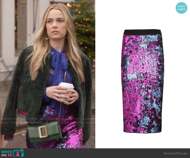 Essentiel Antwerp Sequined Pencil Skirt worn by Ainsley Howard (Rebecca Rittenhouse) on Four Weddings & a Funeral