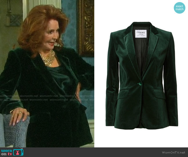 Frame Green Le Velvet Blazer worn by Maggie Horton (Suzanne Rogers) on Days of our Lives