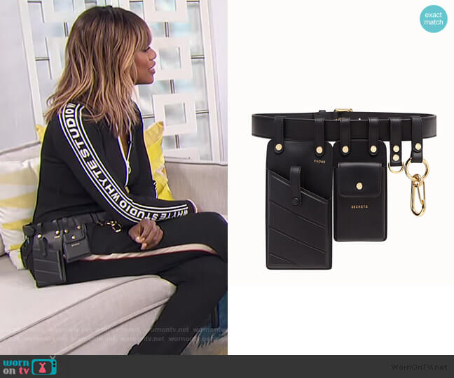 Black leather belt by Fendi worn by Laverne Cox on E! News Daily Pop