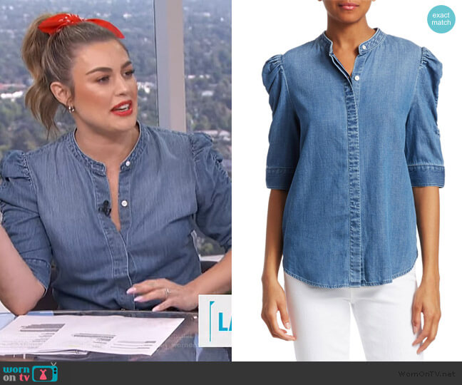 Joanie Shirred Sleeve Chambray Shirt by Frame worn by Carissa Loethen Culiner  on E! News
