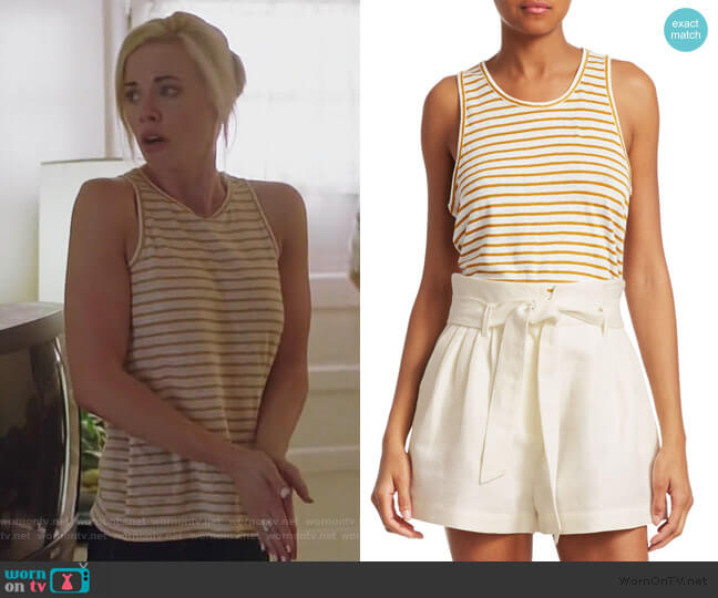 Linen Striped Tank Top by Frame worn by Kelly Anne Van Awken (Molly Burnett) on Queen of the South