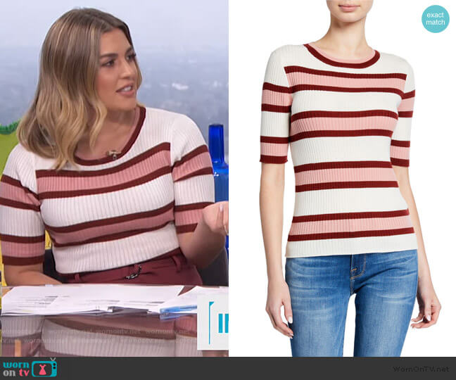 Panel Stripe Short Sleeve by Frame worn by Carissa Loethen Culiner  on E! News