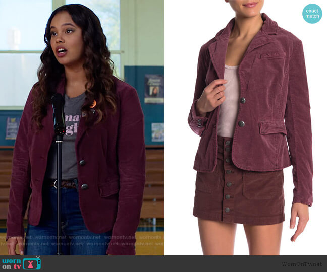 Byron Blazer by Free People worn by Jessica Davis (Alisha Boe) on 13 Reasons Why