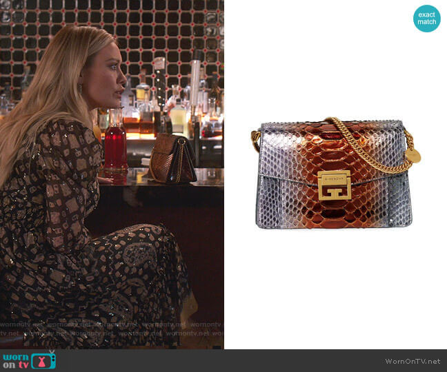 GV3 Small Metallic Python Shoulder Bag by Givenchy worn by Kelsey Peters (Hilary Duff) on Younger