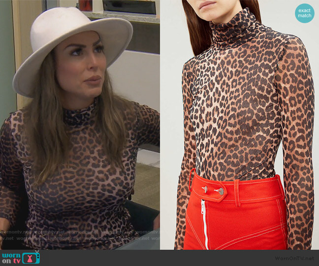Tilden turtleneck mesh top by Ganni worn by Kelly Dodd  on The Real Housewives of Orange County