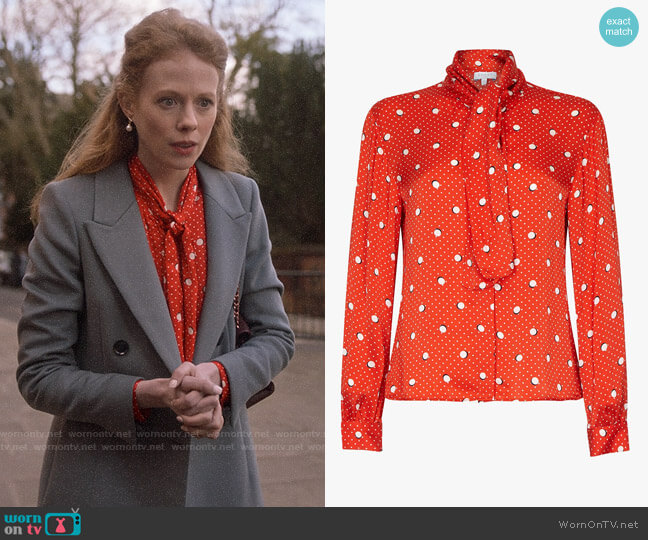 Ghost Piper Mickey and Minnie Spot Satin Blouse worn by Gemma (Zoe Boyle) on Four Weddings & a Funeral