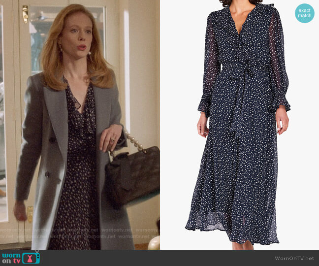 Ghost Star Print Ruffle Detail Maxi Dress worn by Gemma (Zoe Boyle) on Four Weddings & a Funeral