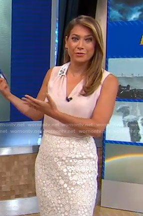Ginger's pink sleeveless blouse and lace skirt on Good Morning America