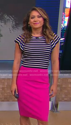 Ginger's striped top and pink skirt on Good Morning America