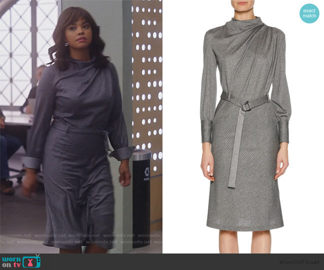 Long-Sleeve Belted Pinstriped Jersey Dress by Giorgio Armani worn by Jasmine Gooden (Sharon Leal) on Instinct