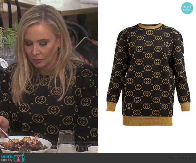 GG-jacquard wool-blend sweater by Gucci worn by Shannon Beador  on The Real Housewives of Orange County