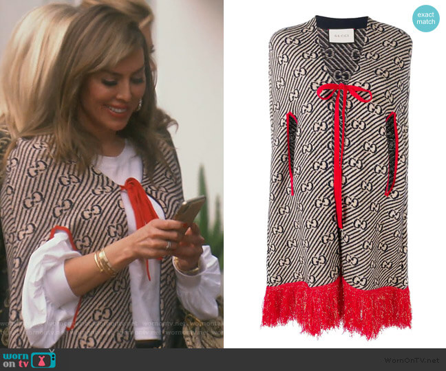 GG Logo Cape by Gucci worn by Kelly Dodd  on The Real Housewives of Orange County