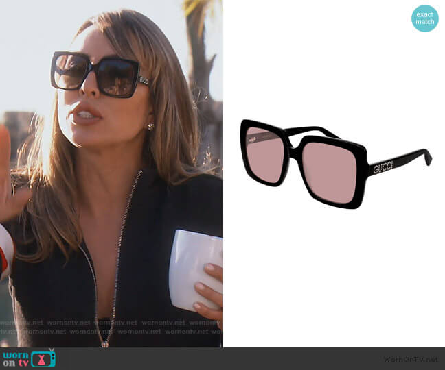 Square Acetate Sunglasses by Gucci worn by Kelly Dodd  on The Real Housewives of Orange County