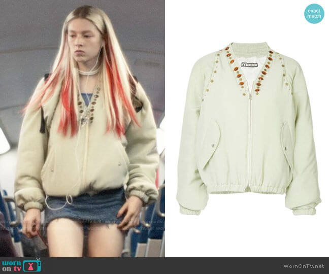 Hyein Seo Jewel Embellished Bomber Jacket worn by Jules Vaughn (Hunter Schafer) on Euphoria