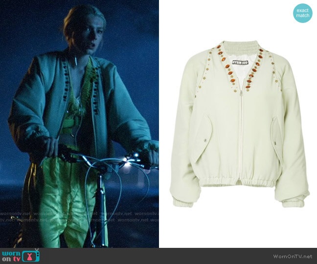 Hyein Seo Jewel Embellished Bomber Jacket worn by Jules Vaughn (Hunter Schafer) on Euphoria