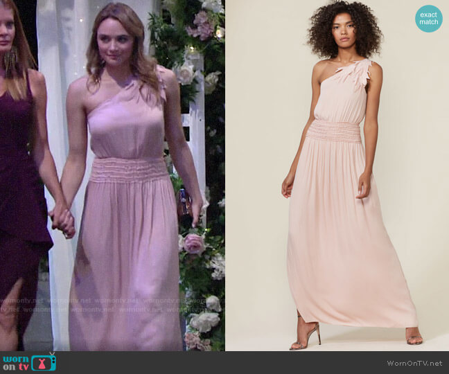 Halston One-Shoulder Gown worn by Summer Newman (Hunter King) on The Young & the Restless