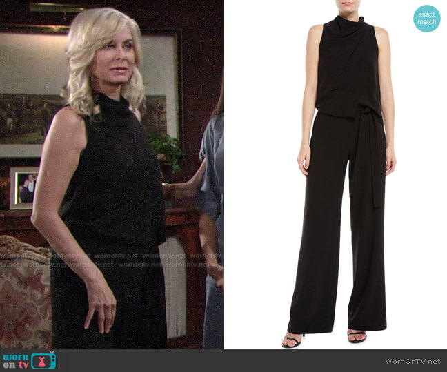 Halston Sleeveless Cowl-Neck Draped Jumpsuit worn by Ashley Abbott (Eileen Davidson) on The Young & the Restless