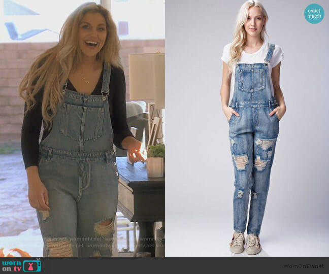 Distressed Denim Overalls by Honey Punch worn by Gina Kirschenheiter  on The Real Housewives of Orange County
