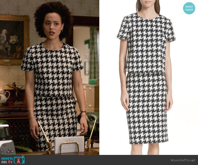 Hugo Boss Clady Houndstooth Top and Riami Skirt worn by Maya (Nathalie Emmanuel) on Four Weddings & a Funeral