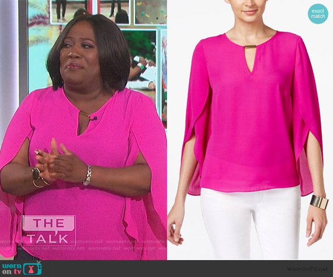 Chiffon Keyhole Blouse by INC International Concepts worn by Sheryl Underwood  on The Talk