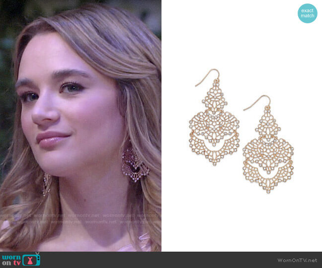 INC International Concepts Crystal Lace Chandelier Earrings worn by Summer Newman (Hunter King) on The Young & the Restless