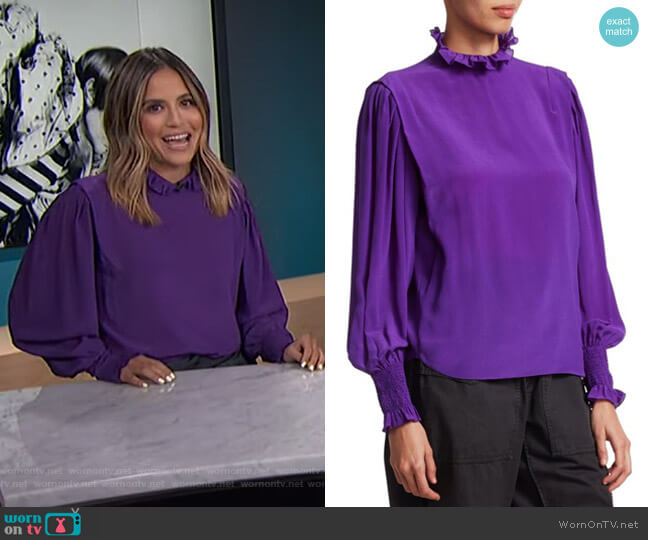 Yoshi Ruffle-Neck Silk Blouse by Isabel Marant Etoile worn by Erin Lim  on E! News
