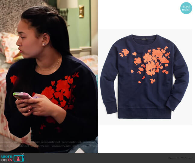 Embroidered flower sweatshirt by J. Crew worn by Xuan (Tiana Le) on No Good Nick