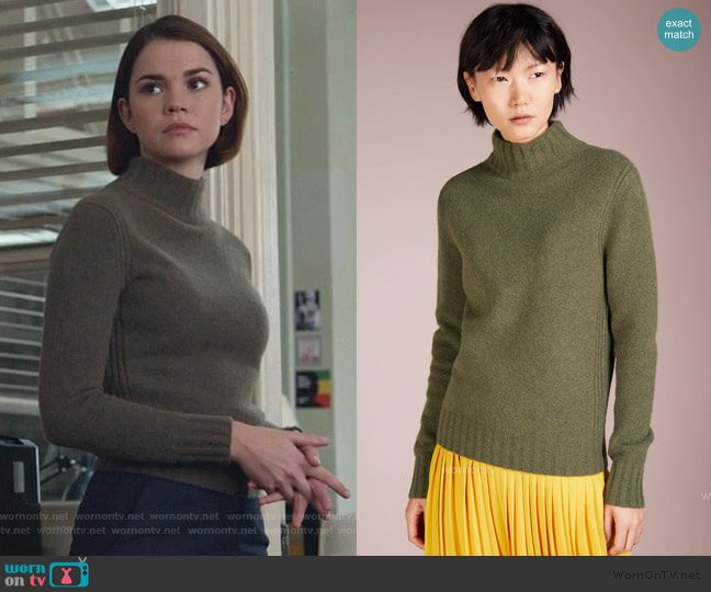 Isabel Knitted Turtleneck Sweater by J. Crew worn by Callie Foster (Maia Mitchell) on Good Trouble