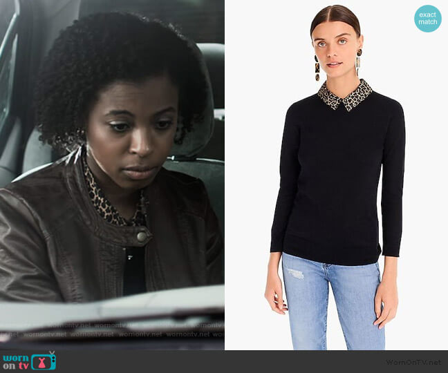 Tippi sweater with leopard collar by J. Crew worn by Ani (Grace Saif) on 13 Reasons Why
