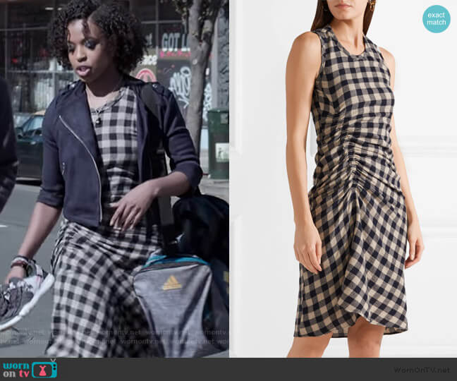 Ruched checked wool and linen-blend dress by James Perse worn by Ani (Grace Saif) on 13 Reasons Why